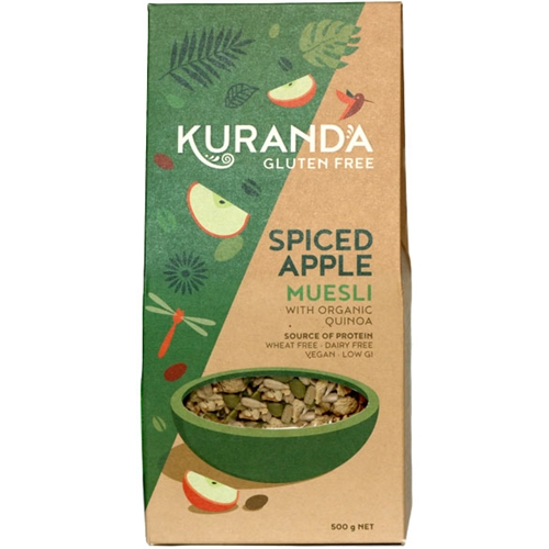 Order Online via Good Food Warehouse, Quantity Discounts. 500g Spiced Apple Gluten Free Muesli.