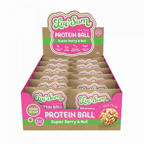 Wholesale Wrapped 12 Energy Balls 42g - Pick-me-Up Super Berry Nut Crunch - Luv Sum Orders Dispatched direct from Supplier. Free Delivery Australia Wide.