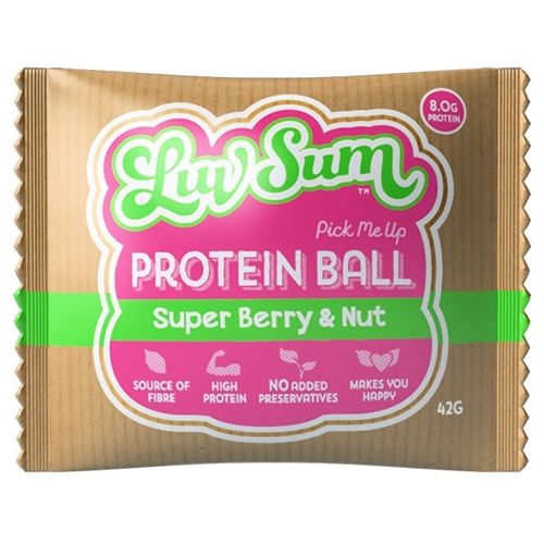 Wholesale  Wrapped 100 Energy Balls 42g - Pick-me-Up Super Berry Nut Crunch - Luv Sum Orders Dispatched direct from Supplier. Free Delivery Australia Wide.