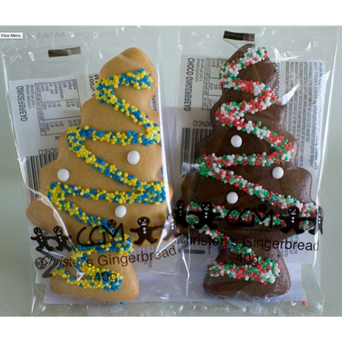 Wrapped Gingerbread Christmas Trees 40g - Plain and Chocolate - Christens Gingerbread (24x40g)