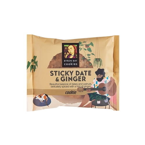 Wrapped Cafe Cookie 60g - Sticky Date Ginger - Byron Bay Cookies (12x60g)