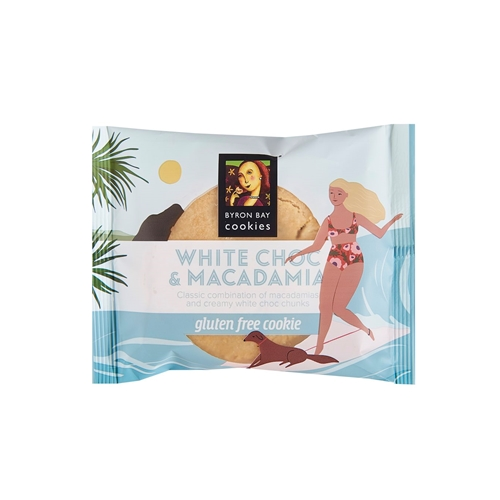 Wrapped Cafe Cookie 60g - GLUTEN FREE White Choc Mac - Byron Bay Cookies (12x60g)