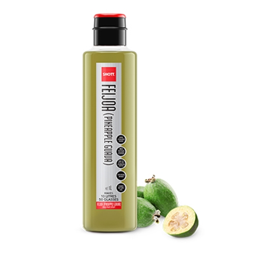 Wholesale Pulp Fruit Syrup 1ltr - Feijoa (Pineapple Guava) - SHOTT Beverages Orders Dispatched direct from Supplier. Free Delivery Australia Wide.