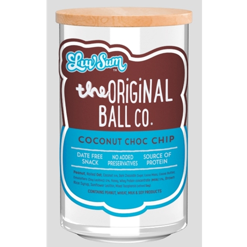 Wholesale  Unwrapped 12 Protein Balls 40g - Date Free Coconut Choc Chip - Luv Sum Orders Dispatched direct from Supplier. Free Delivery Australia Wide.