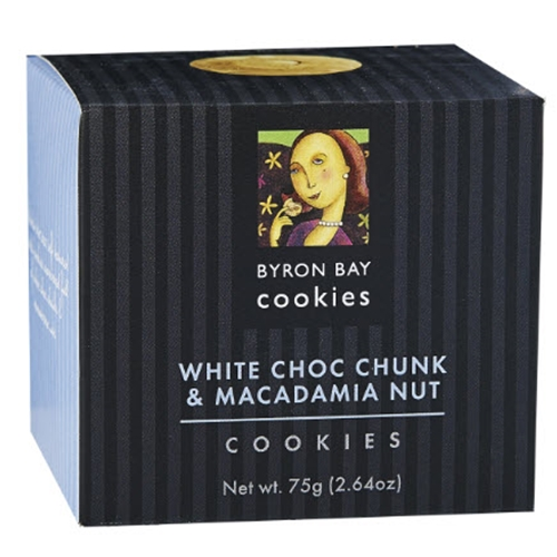 Order Wholesale Fresh Byron Bay White Choc Macadamia Baby Button 75g Gift Cube from Good Food Warehouse. FREE DELIVERY AUSTRALIA WIDE.