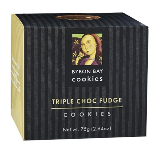 Order Wholesale Fresh Byron Bay Triple Choc Fudge Baby Button 75g Gift Cube from Good Food Warehouse. FREE DELIVERY AUSTRALIA WIDE.