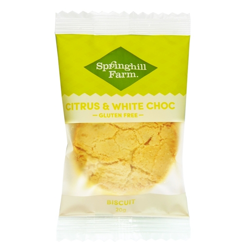 FREE DELIVERY ONLY via Good Food Warehouse. Order Wholesale Wrapped Citrus White Choc Biscuits.