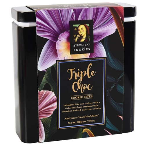 Floral Gift Tin 200g - Triple Choc Fudge - Byron Bay Cookies (1x200g)