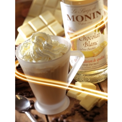 Free Delivery and Best Wholesale Price for Monin 1ltr PET White Chocolate Syrup at Good Food Warehouse