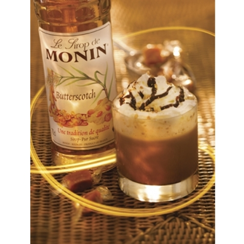 Free Delivery and Best Wholesale Price for Monin 1ltr PET Butterscotch Syrup at Good Food Warehouse