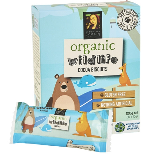 Free Delivery Australia Wide Order Byron the Bear Kids Cocoa Biscuits from Byron Bay Cookies.