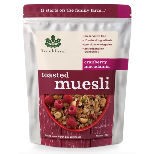 Brookfarm Wholesale 1.5kg Toasted Cranberry Macadamia Muesli Online Good Food Warehouse.