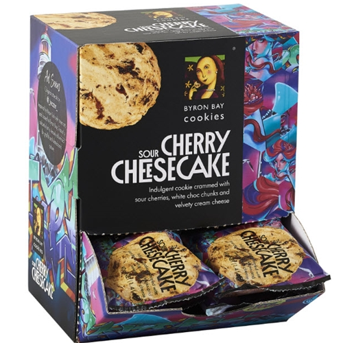 Order 40g Byron Bay Sour Cherry Cheesecake Cookies. Free Delivery only at Good Food Warehouse.