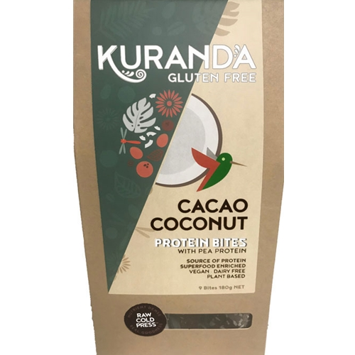 Order from Kuranda Wholefoods Online via Good Food Warehouse. Wholesale 180g Cacao Coconut Protein Bites.