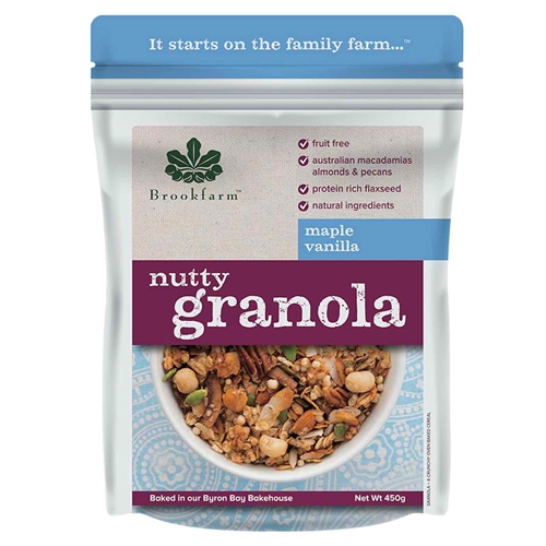 Order Wholesale 450g Nutty Granola Maple Vanilla direct from Brookfarm Byron Bay Bakehouse