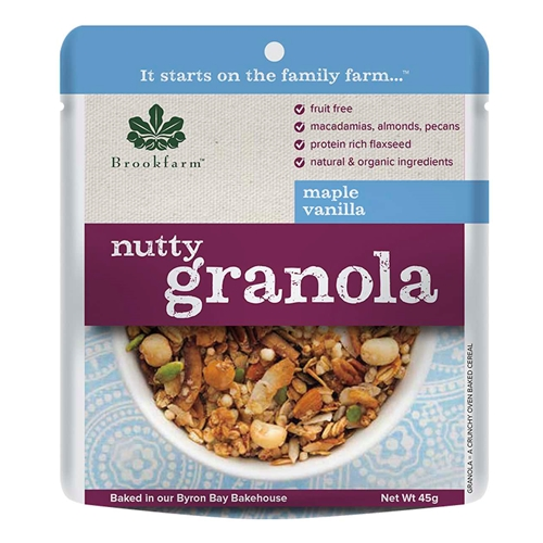 Order Wholesale 45g Nutty Granola Maple Vanilla direct from Brookfarm Byron Bay Bakehouse