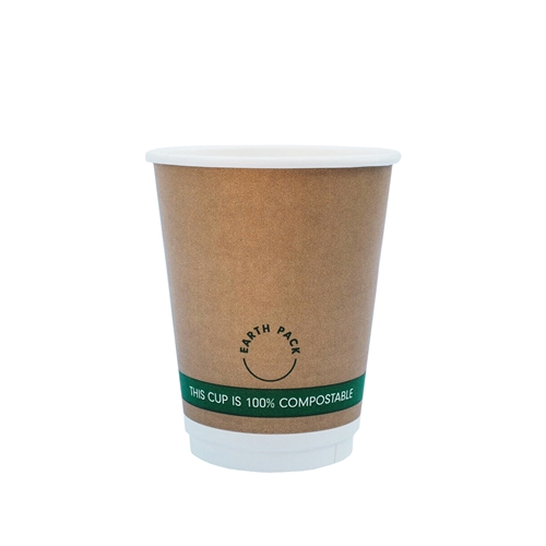 12oz PLA Double Wall Kraft Compostable Cups