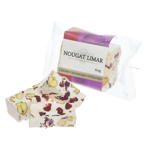 Wholesale 60g - Cherry Cranberry Pistachio - Nougat Limar Orders Dispatched direct from Supplier. Free Delivery Australia Wide.