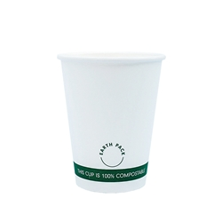 12oz PLA Single Wall White Compostable Cups