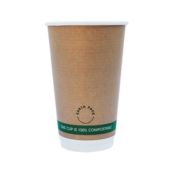 16oz PLA Double Wall Kraft Compostable Cups